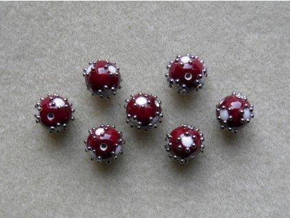 Vinutá kulička vinová s bílými puntíky zdobené špíglem 12 mm