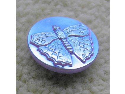 """Skleněný knoflík motýl - světle modrý duhový 10"""""""