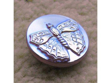 """Skleněný knoflík motýl - světle fialový duhový 10"""""""