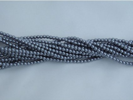Korálky - voskované perle 3 mm - šedé