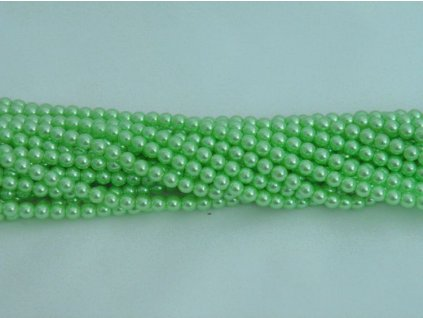 Korálky - voskované perle 4 mm - zelené II