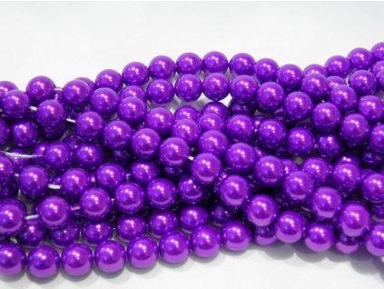 Korálky - voskované perle 10 mm fialové