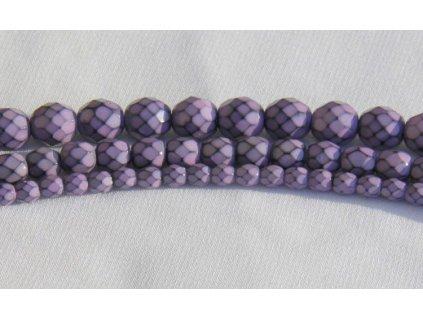 Korálky broušené - ohňovka Snake 4 mm - fialová
