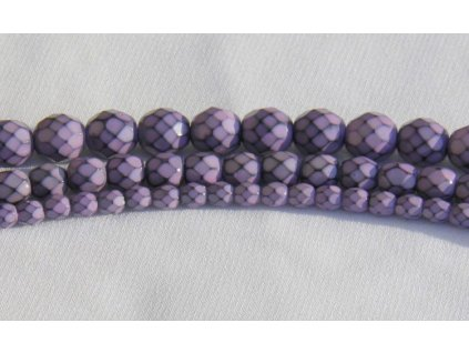 Korálky broušené - ohňovka Snake 6 mm - fialová