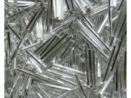 Korálky - rokajlové tyčky 20 mm - stříbrné rovné 78102 (T4)