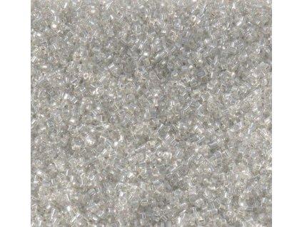 Korálky - rokajlové perličky sekané krystal se stříbrným průtahem