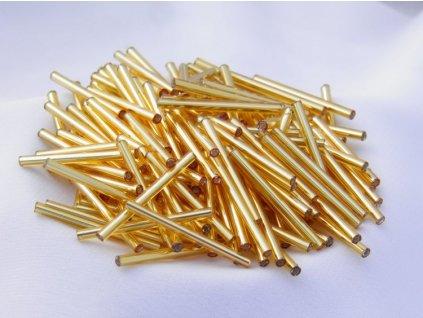 Korálky - rokajlové tyčky 15 mm - zlaté rovné 17050 (T1)