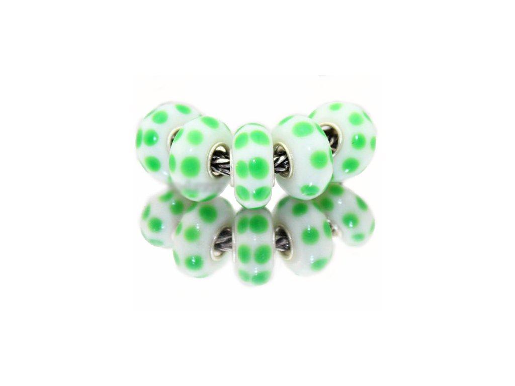 """Skleněný korálek """"Zelené puntíky""""   Korálky Branelli"""