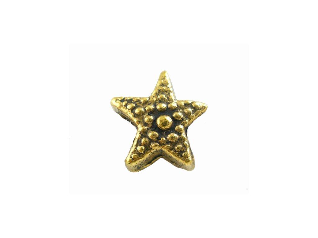 """Kovový korálek """"Zlatá hvězdice""""   Korálky Branelli"""