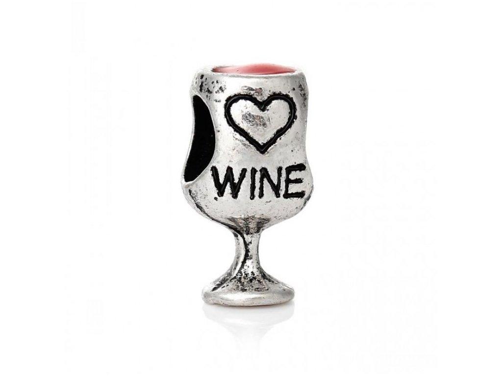 """Kovový korálek """"Červené víno""""   Korálky Branelli"""