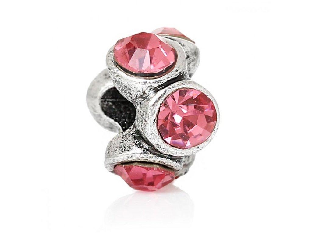 """Kovový korálek """"Růžové krystaly""""   Korálky Branelli"""