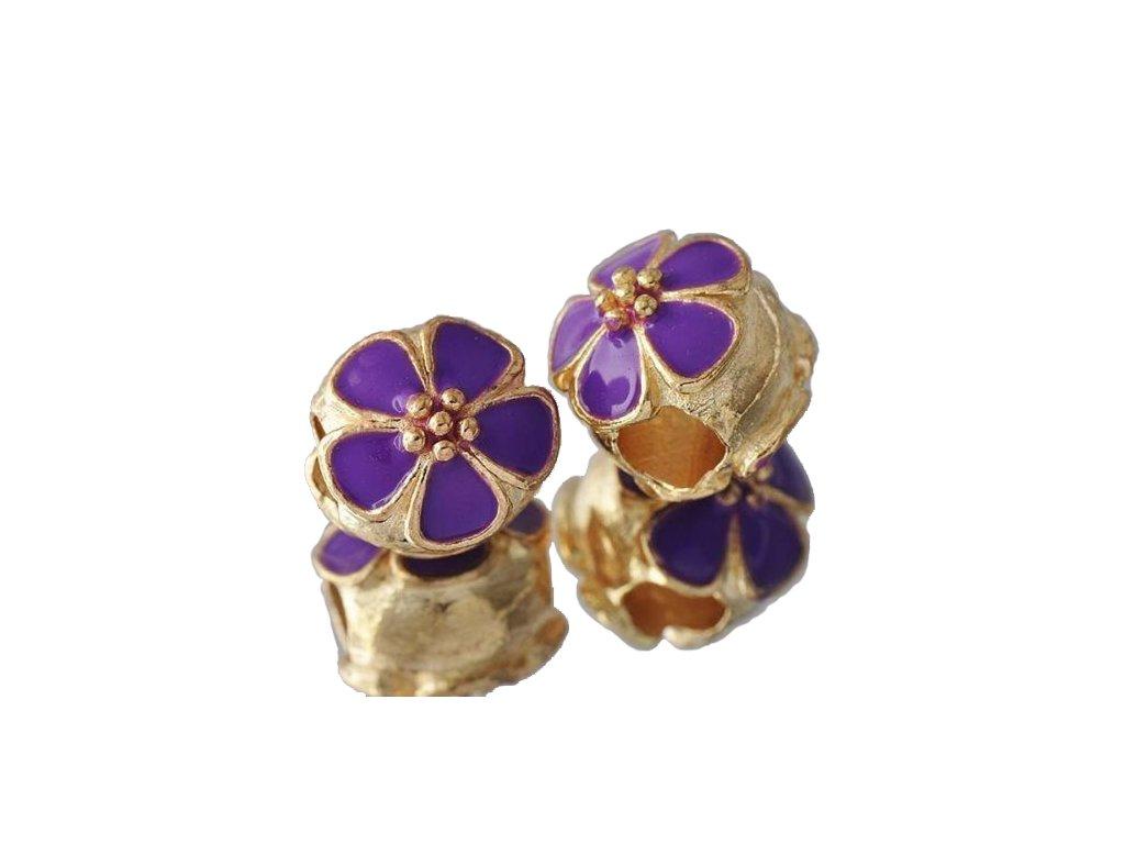 """Kovový korálek """"Zlatá květina fialová""""   Korálky Branelli"""
