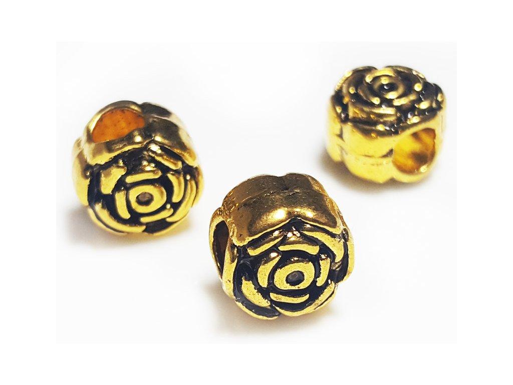 """Kovový korálek """"Zlatá růžička""""   Korálky Branelli"""