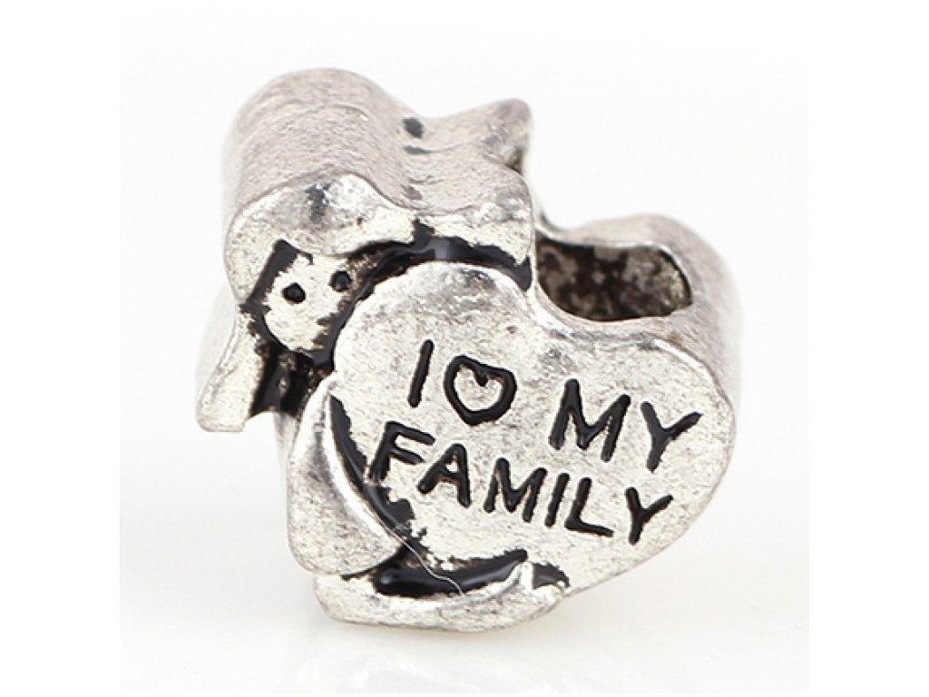 """Kovový korálek """"Miluji svou rodinu""""   Korálky Branelli"""