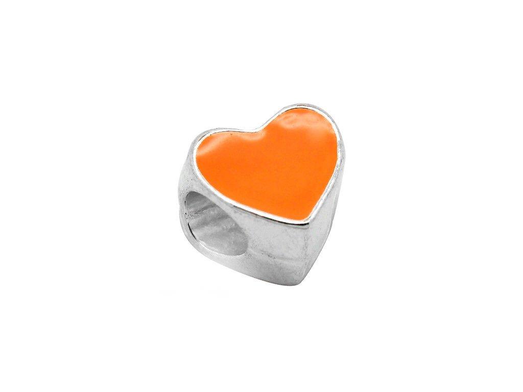 """Kovový korálek """"Oranžové srdíčko""""   Korálky Branelli"""
