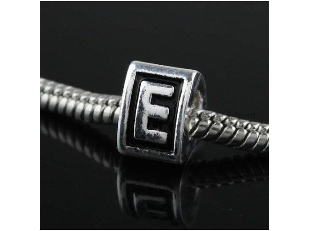 """Kovový korálek """"Písmeno E""""   Korálky Branelli"""