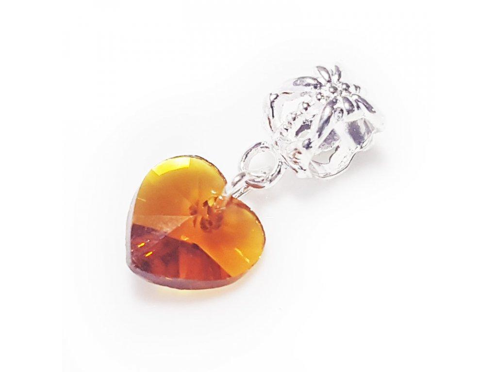 """Visací korálek """"Oranžové skleněné srdce""""   Korálky Branelli"""