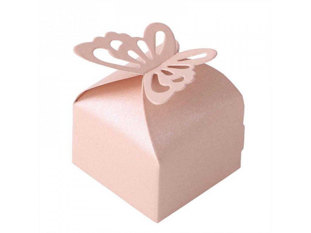 """Růžová krabička """"Růžový motýlek""""   Korálky Branelli"""