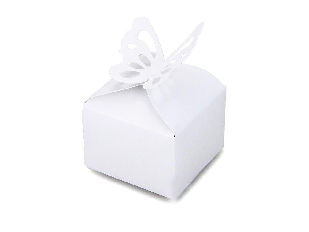 "Růžová krabička ""Bílý motýlek""   Korálky Branelli"