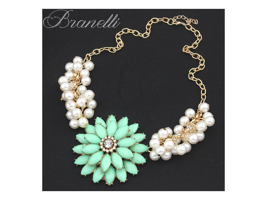 Náhrdelník Mentolová květina s perličkami