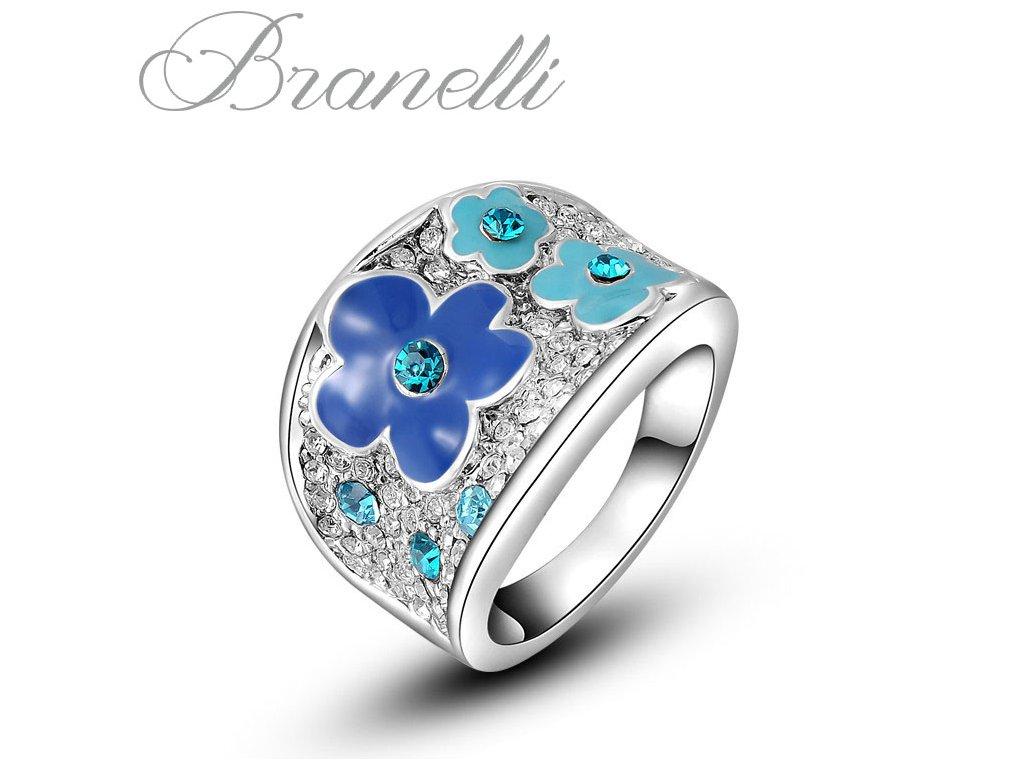 Prsten Modré květiny S