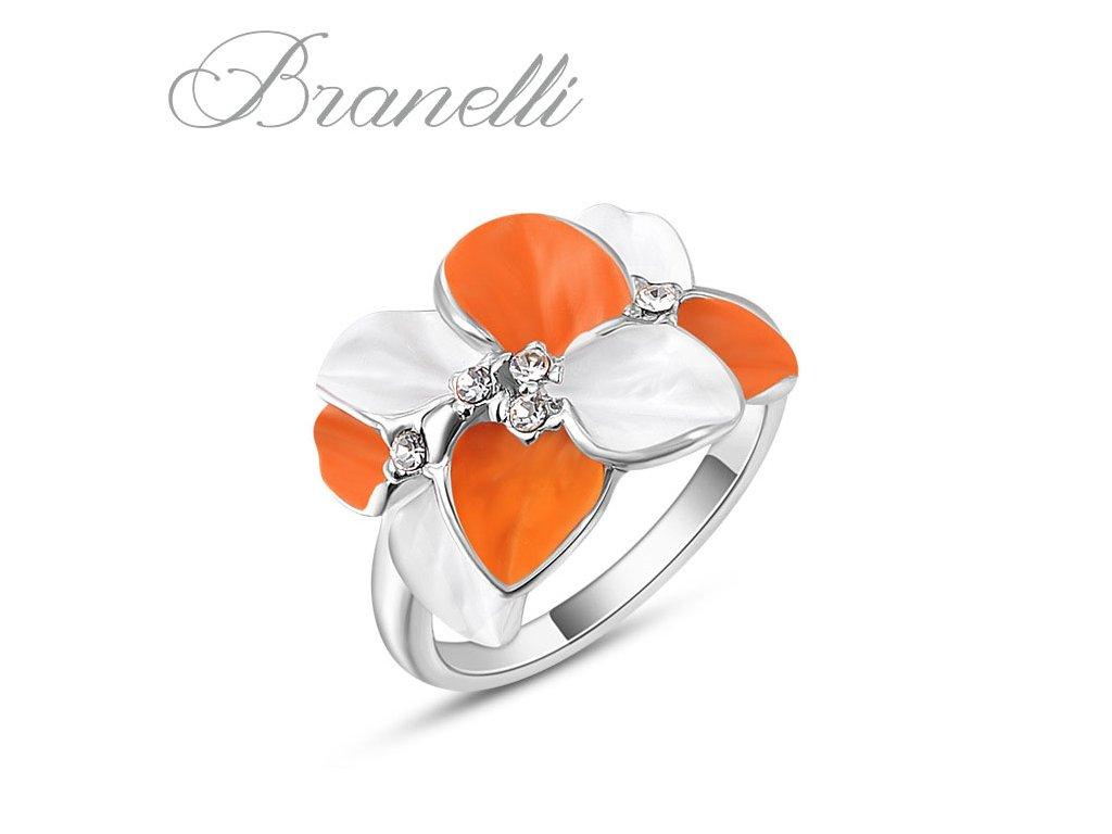 Prsten Oranžová květina S