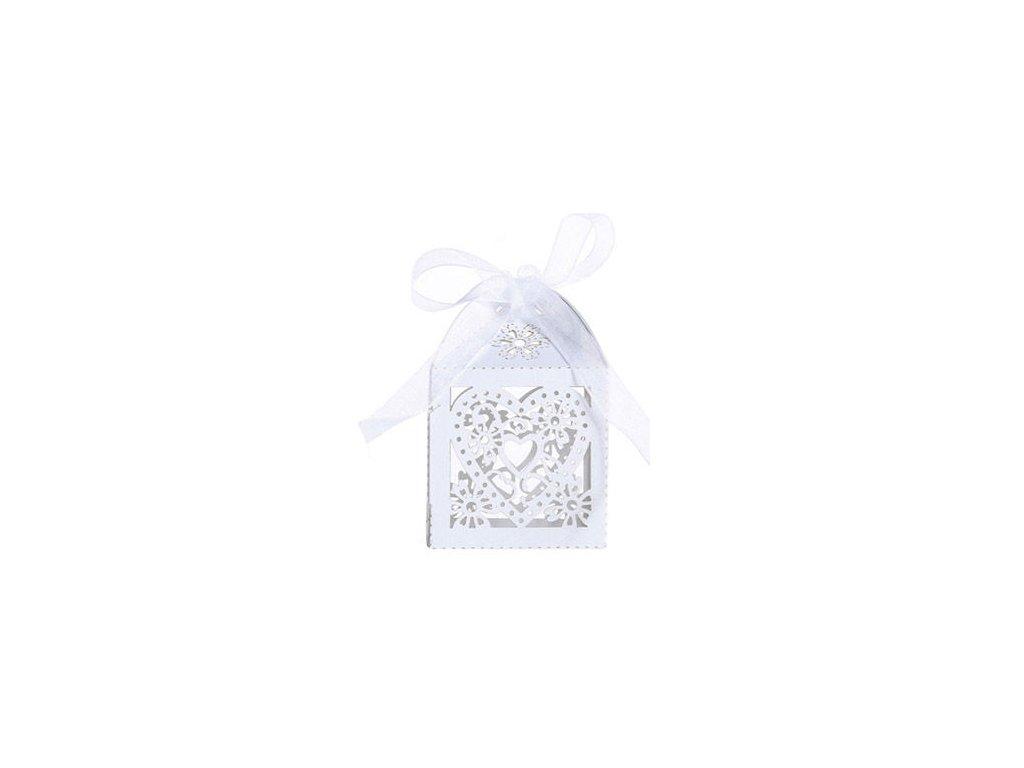 """Bílá krabička """"srdce a květiny""""   Korálky Branelli"""