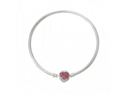 Náramek srdce kamínkové růžové | Korálky Branelli