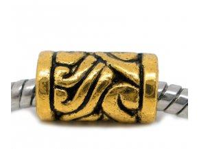 "Kovový korálek ""Zlaté aztécké motivy"" | Korálky Branelli"