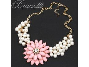 Náhrdelník Růžová květina s perličkami