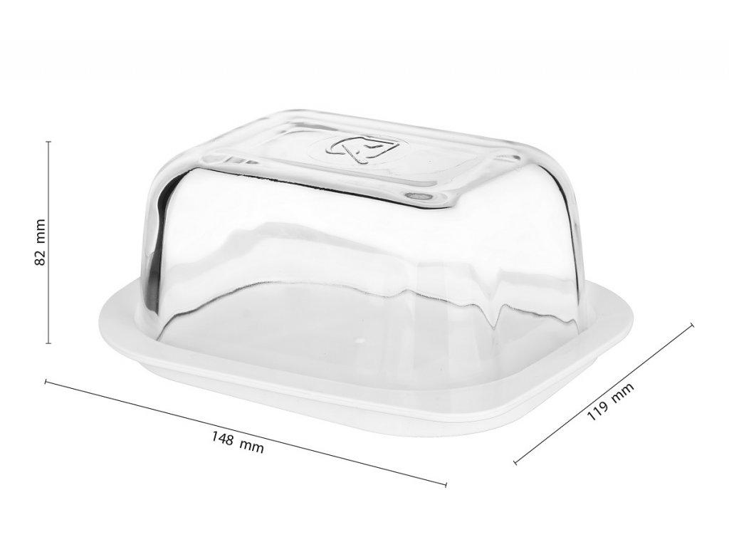 Skleněná dóza na máslo (máslenka) s plastovým táckem