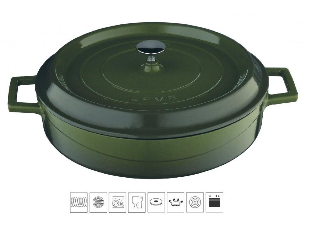 litinovy kastrol zeleny LV Y ST 28 K2