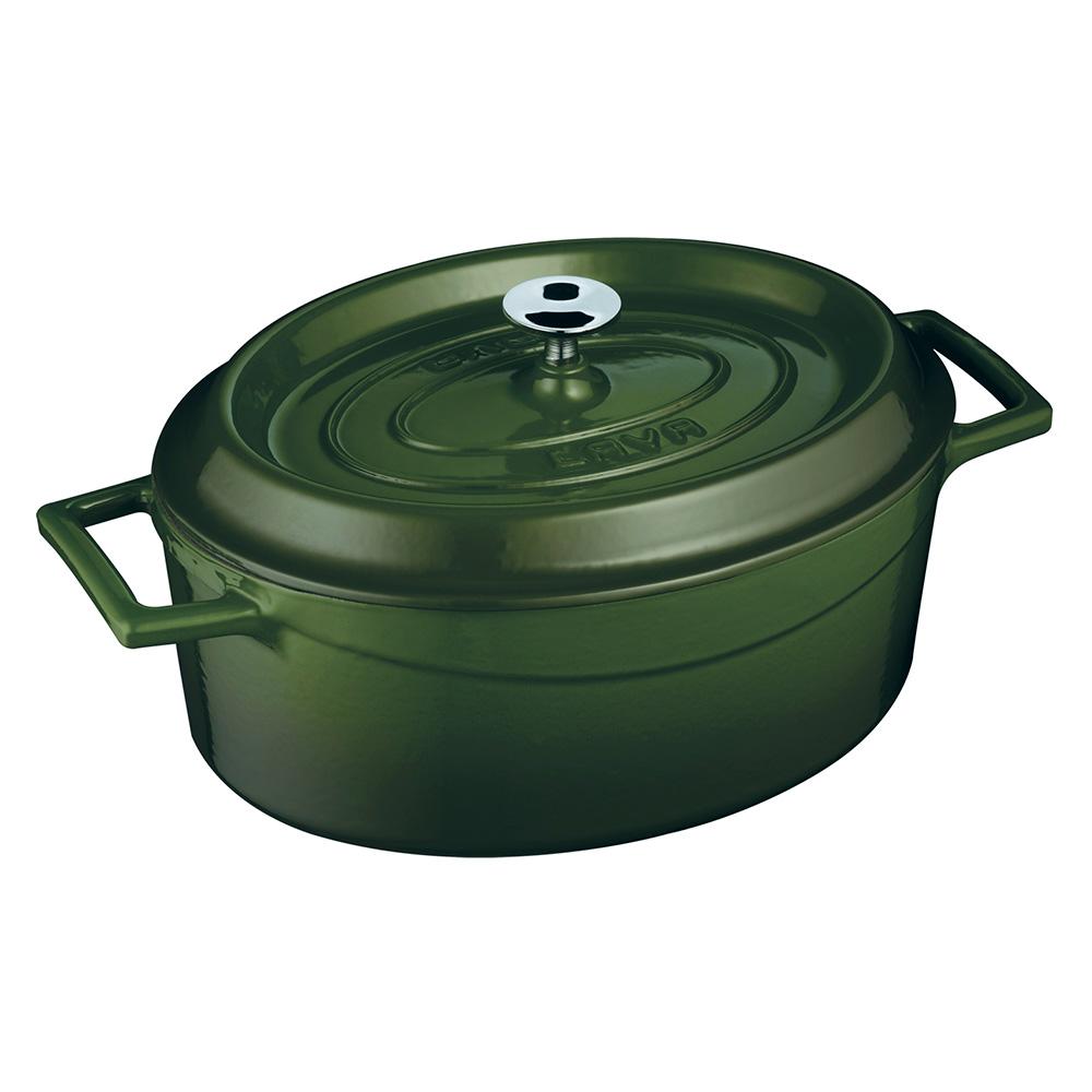 LAVA METAL Litinový hrnec oválný 33cm - zelený