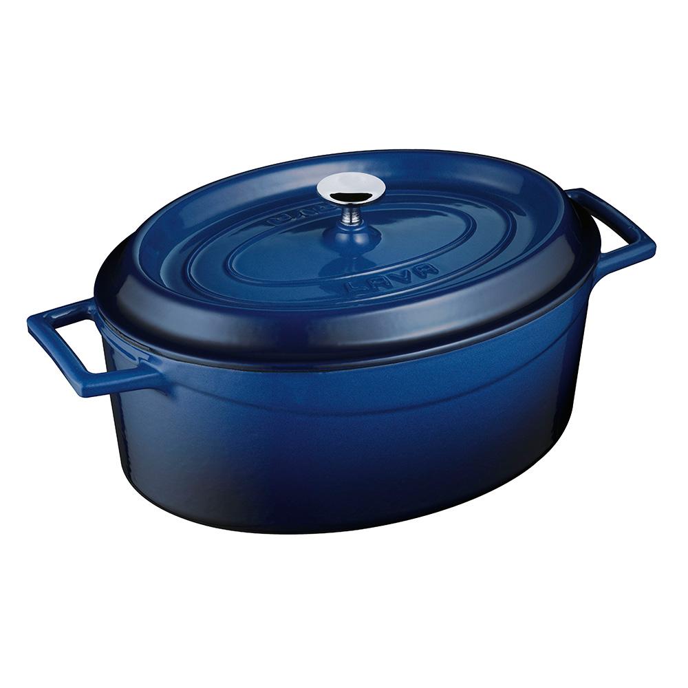 LAVA METAL Litinový hrnec oválný 33cm - modrý