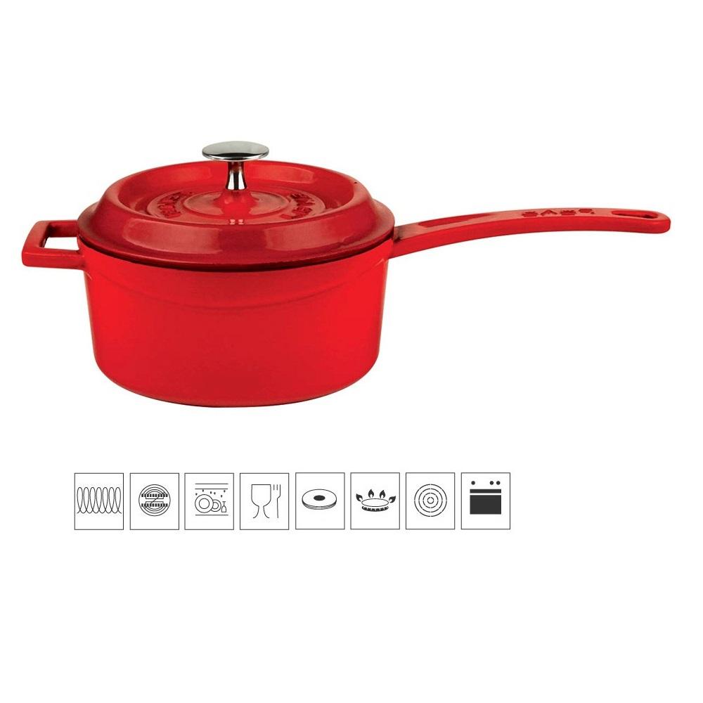 LAVA METAL Litinový rendlík 16 cm - červený