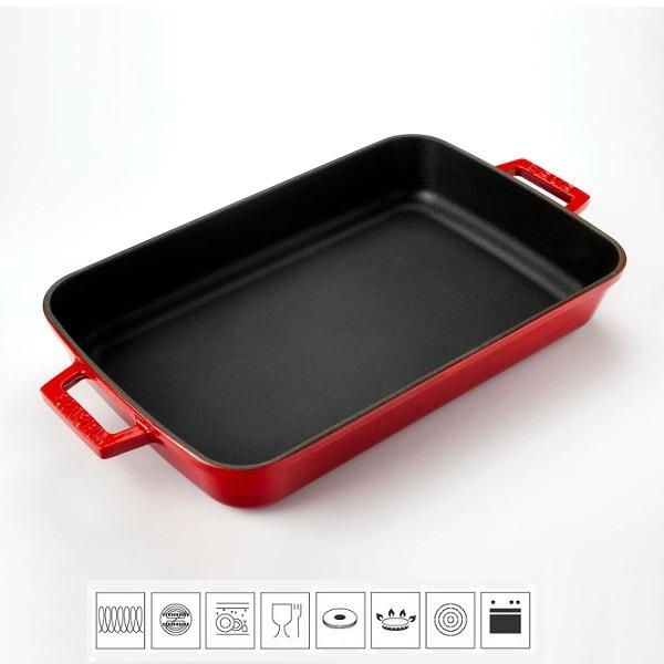 LAVA METAL Litinový pekáč 22x30cm - červený
