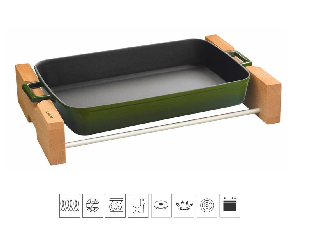 LAVA METAL Litinový pekáč 22x30cm s dřevěným podstavcem - zelený