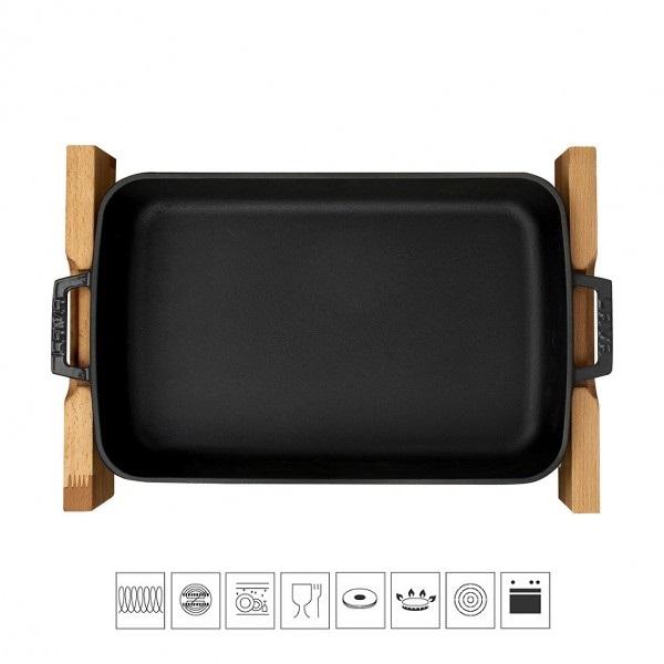 LAVA METAL Litinový pekáč 22x30cm s dřevěným podstavcem - černý
