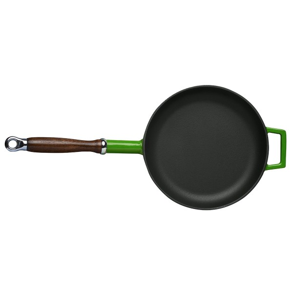 LAVA METAL Litinová pánev s dřevěnou rukojetí 28cm - zelená