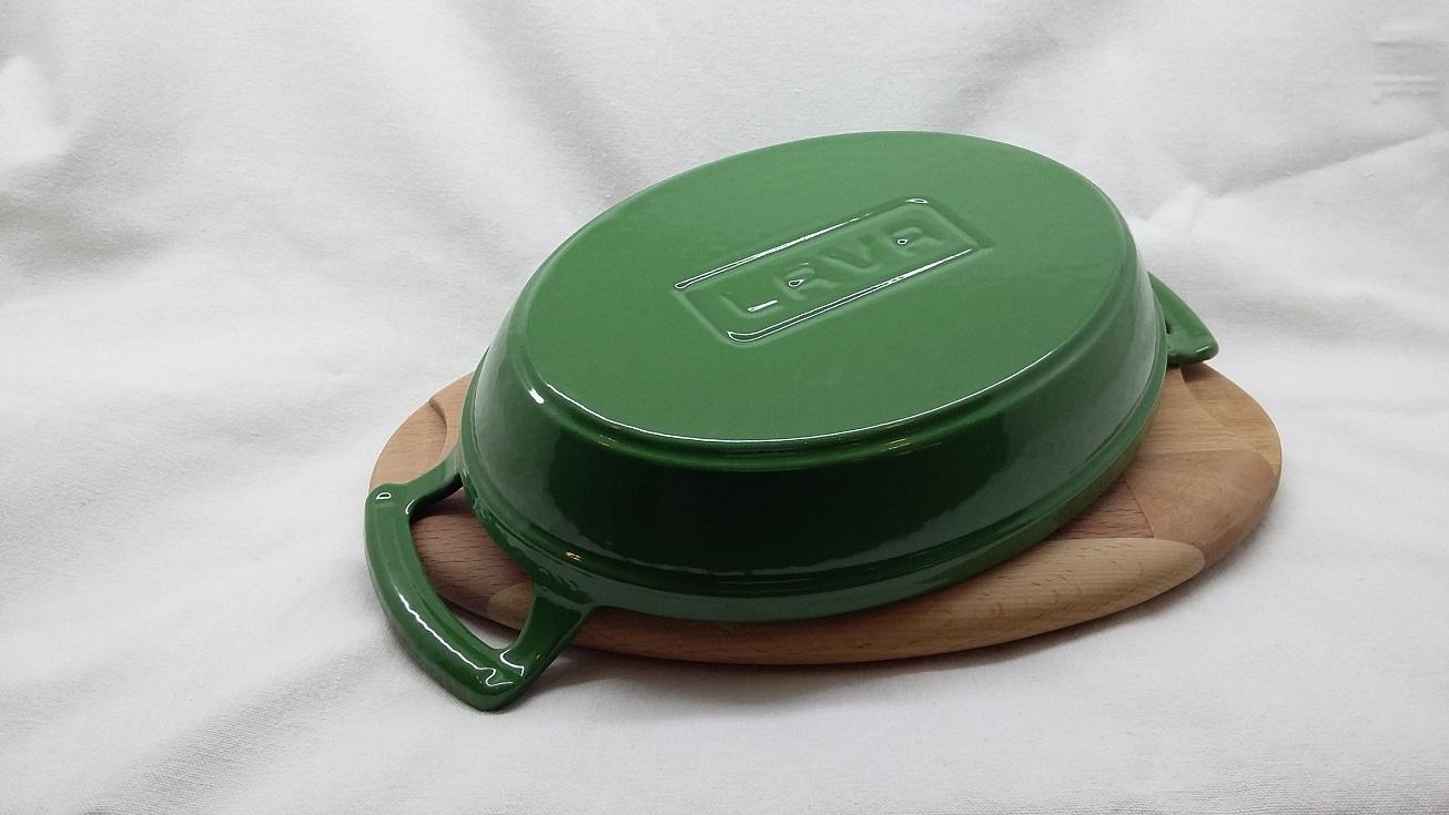 LAVA METAL Litinová pánev 19x14 cm s dřevěným podstavcem - zelená