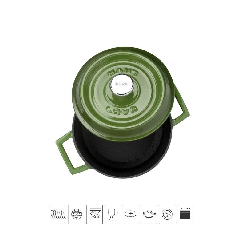 LAVA METAL Litinový hrnec kulatý 14cm - zelený