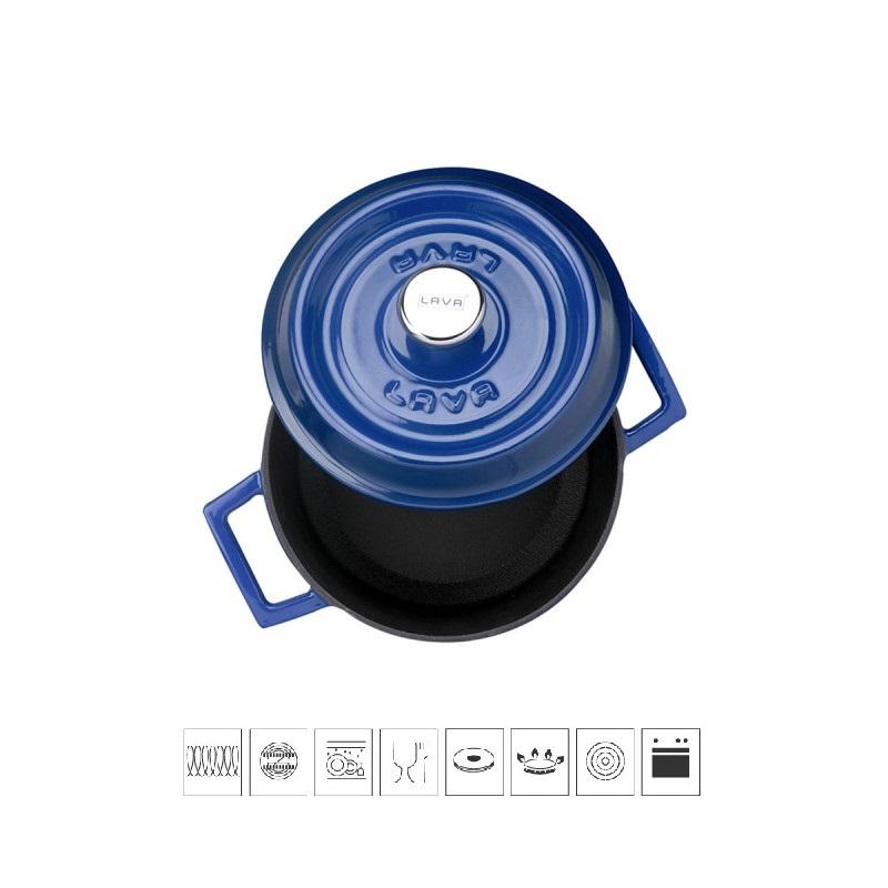 LAVA METAL Litinový hrnec kulatý 14cm - modrý