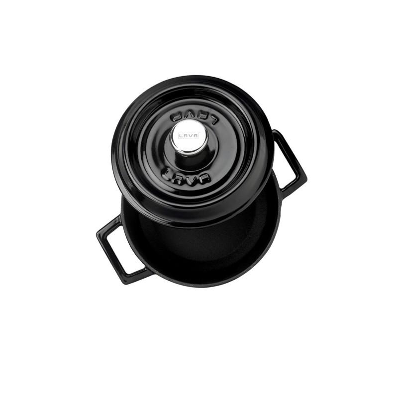 LAVA METAL Litinový hrnec kulatý 16cm - černý