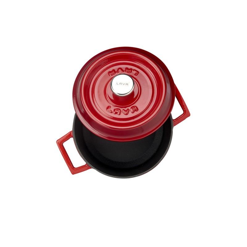 LAVA METAL Litinový hrnec kulatý 18cm - červený