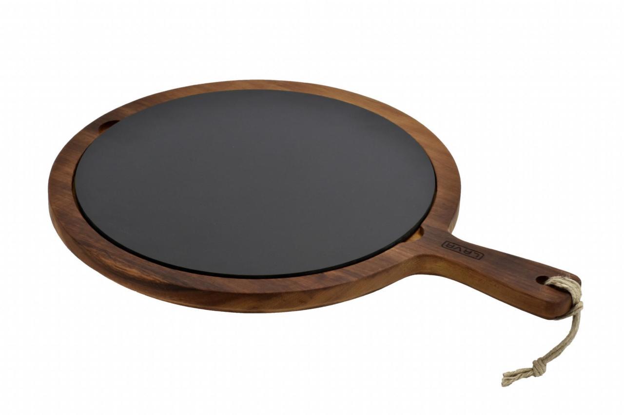 LAVA METAL Lava wood - servírovací deska s porcelánovým talířem
