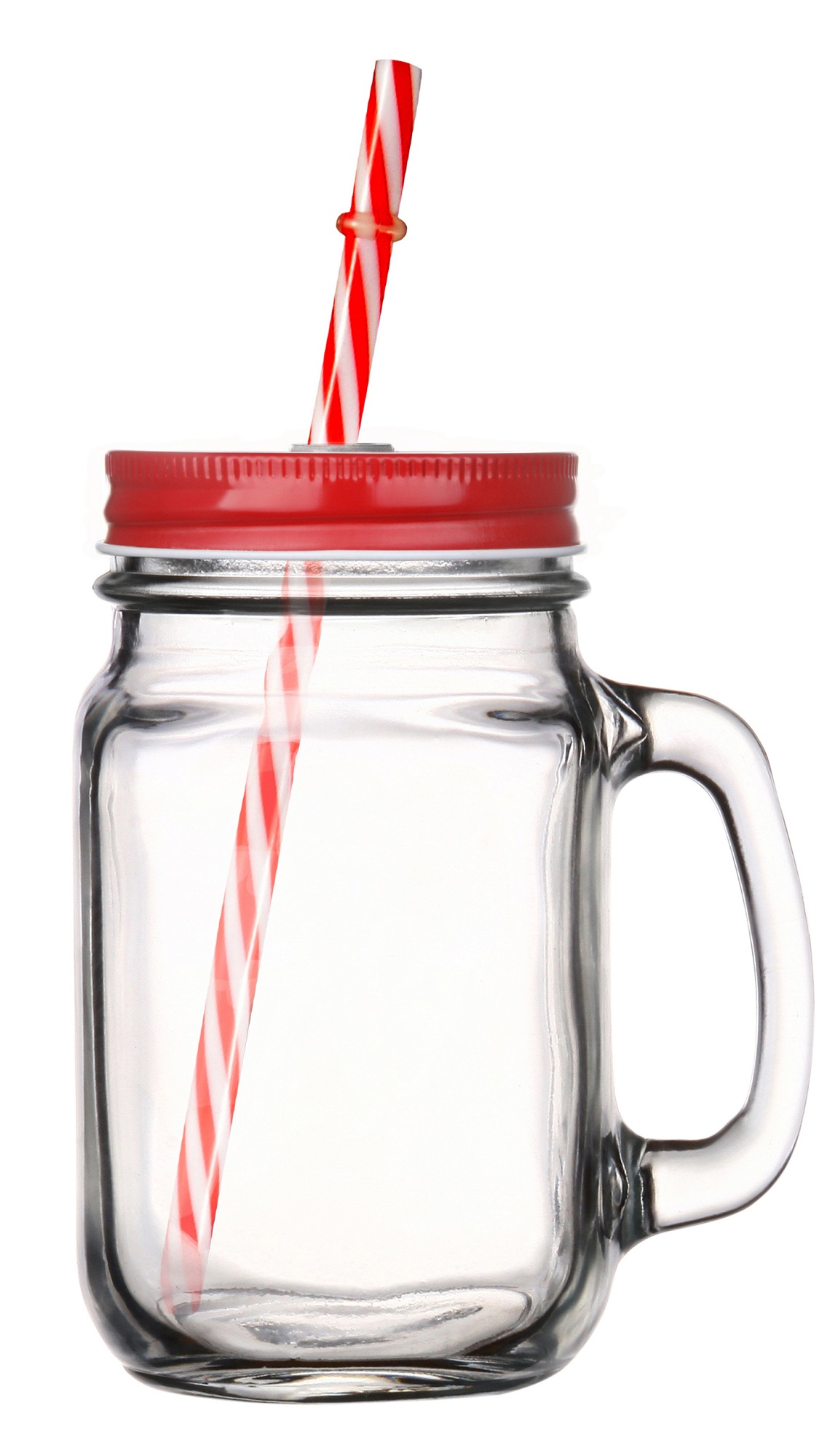 GLASMARK Sklenice s víčkem a brčkem 400ml - červená