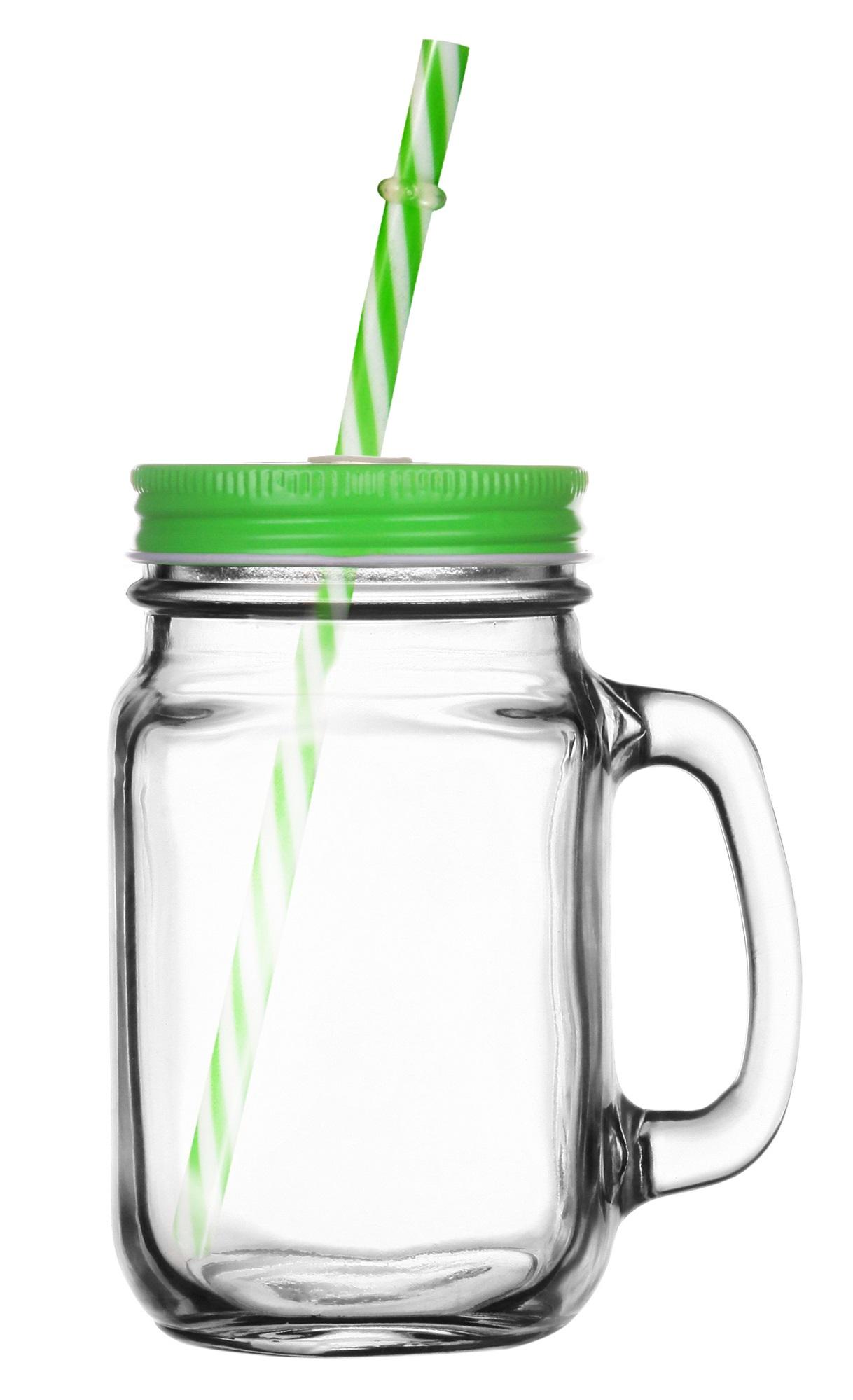 GLASMARK Sklenice s víčkem a brčkem 400ml - zelená