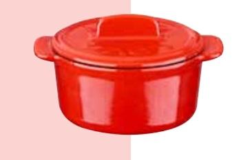 LAVA METAL Litinový mini hrnec kulatý 9 cm - červený