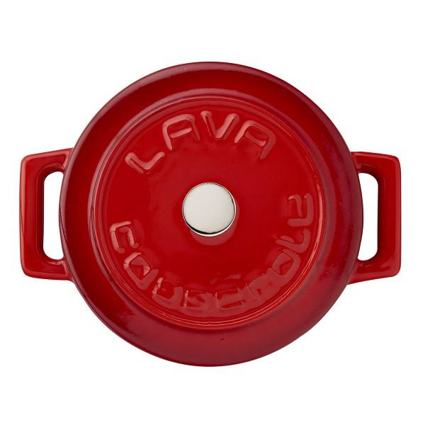 """LAVA METAL Litinový mini hrnec """"Folk"""" kulatý 10 cm - červený"""