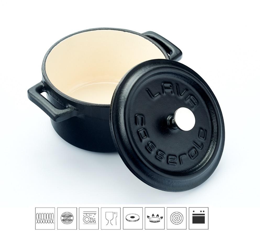 LAVA METAL Litinový mini hrnec kulatý 10 cm - černý/bílý
